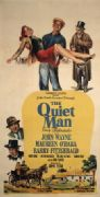The Quiet Man Movie Poster. 1951 film featuring John Wayne, Maureen O'Hara, Barry Fitzgerald